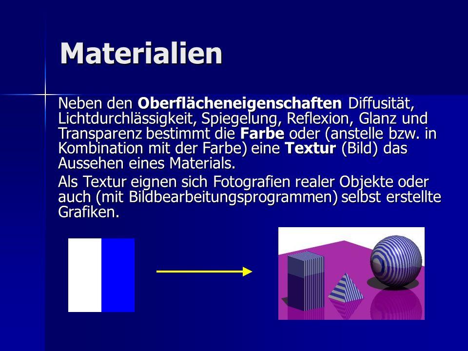 Materialien Neben den Oberflächeneigenschaften Diffusität, Lichtdurchlässigkeit, Spiegelung, Reflexion, Glanz und Transparenz bestimmt die Farbe oder