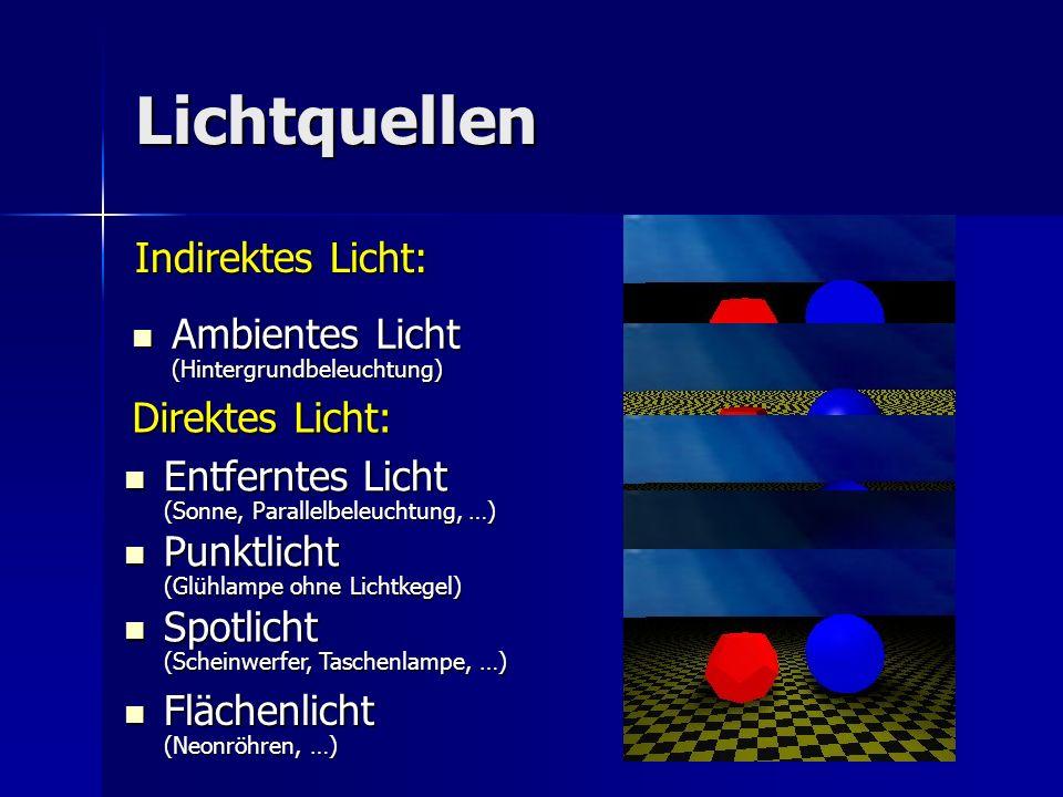 Lichtquellen Indirektes Licht: Ambientes Licht (Hintergrundbeleuchtung) Ambientes Licht (Hintergrundbeleuchtung) Direktes Licht: Punktlicht (Glühlampe