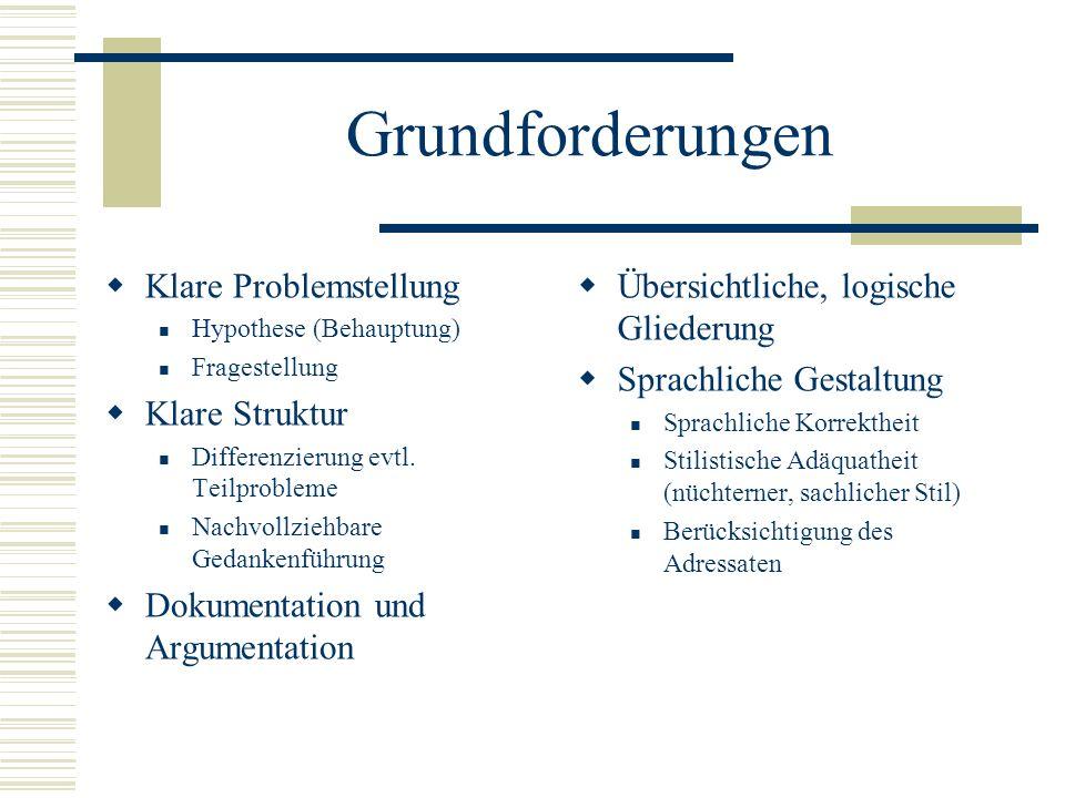 Grundforderungen Klare Problemstellung Hypothese (Behauptung) Fragestellung Klare Struktur Differenzierung evtl. Teilprobleme Nachvollziehbare Gedanke