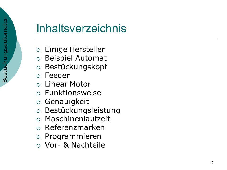 2 Inhaltsverzeichnis Einige Hersteller Beispiel Automat Bestückungskopf Feeder Linear Motor Funktionsweise Genauigkeit Bestückungsleistung Maschinenla