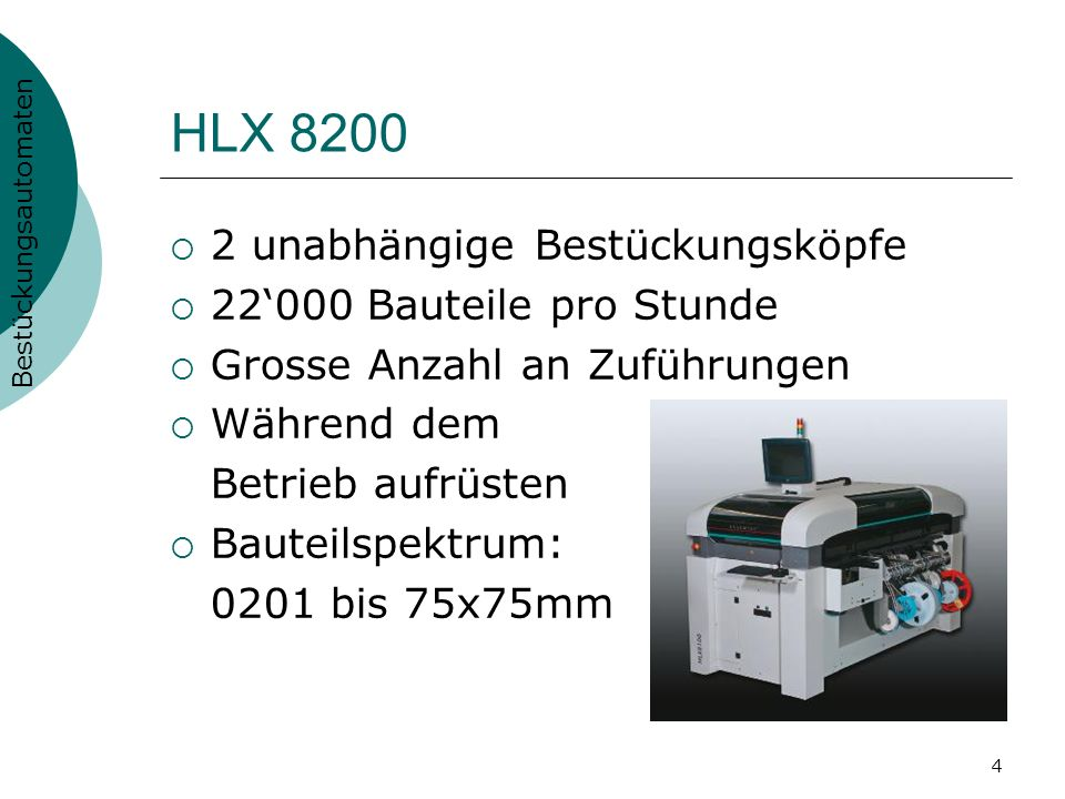 4 HLX 8200 2 unabhängige Bestückungsköpfe 22000 Bauteile pro Stunde Grosse Anzahl an Zuführungen Während dem Betrieb aufrüsten Bauteilspektrum: 0201 b