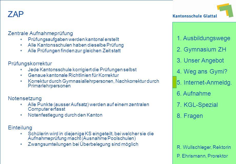 1. Ausbildungswege 2. Gymnasium ZH 3. Unser Angebot 4. Weg ans Gymi? 5. Internet-Anmeldg. 6. Aufnahme 7. KGL-Spezial 8. Fragen R. Wullschleger, Rektor