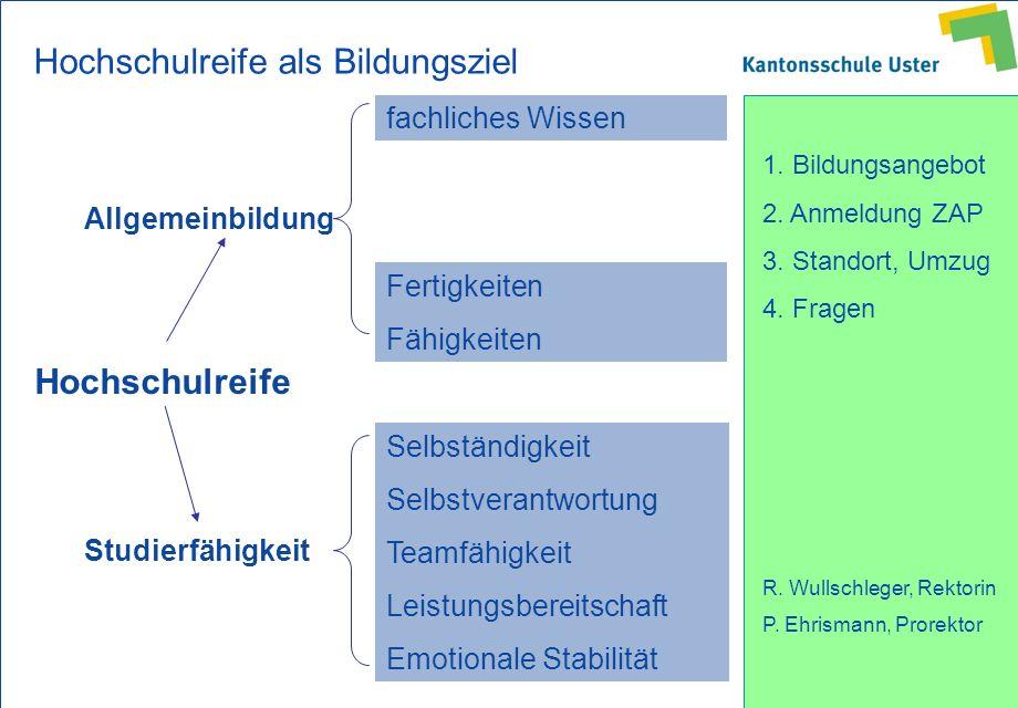 1. Bildungsangebot 2. Anmeldung ZAP 3. Standort, Umzug 4. Fragen R. Wullschleger, Rektorin P. Ehrismann, Prorektor Hochschulreife Allgemeinbildung Stu