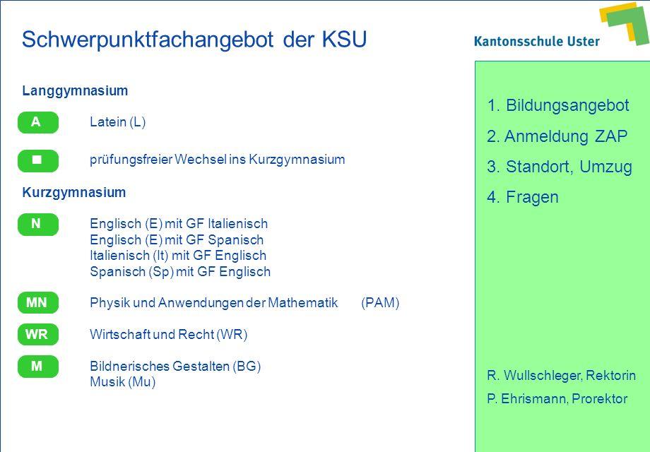 1. Bildungsangebot 2. Anmeldung ZAP 3. Standort, Umzug 4. Fragen R. Wullschleger, Rektorin P. Ehrismann, Prorektor Schwerpunktfachangebot der KSU Lang