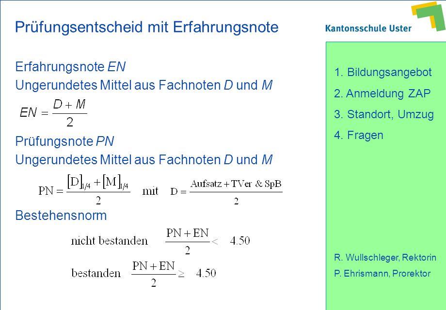 1. Bildungsangebot 2. Anmeldung ZAP 3. Standort, Umzug 4. Fragen R. Wullschleger, Rektorin P. Ehrismann, Prorektor Prüfungsentscheid mit Erfahrungsnot