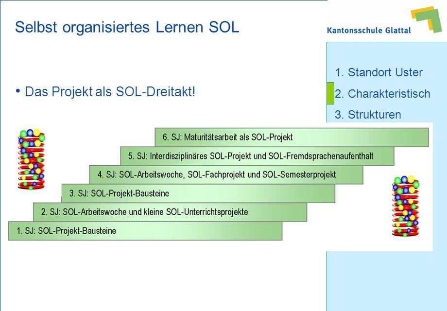 1. Standort Uster 2. Charakteristisch 3. Strukturen 4. Probezeit 5. Schulalltag Selbst organisiertes Lernen SOL Das Projekt als SOL-Dreitakt!
