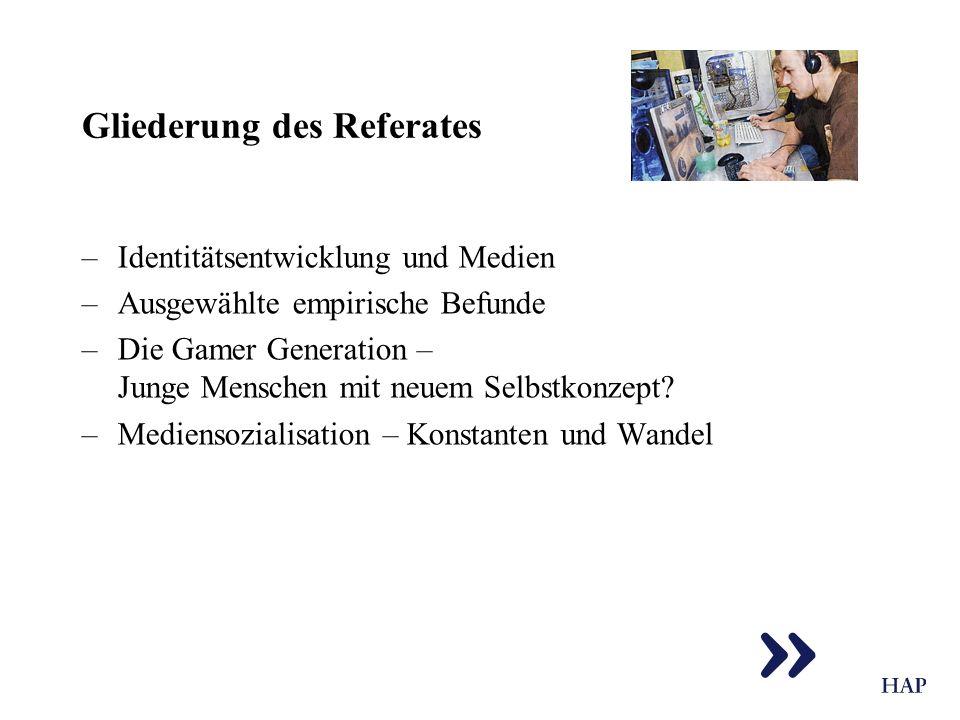 Gliederung des Referates –Identitätsentwicklung und Medien –Ausgewählte empirische Befunde –Die Gamer Generation – Junge Menschen mit neuem Selbstkonz