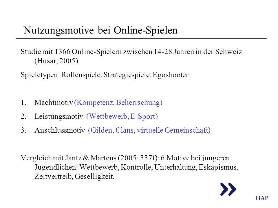 Nutzungsmotive bei Online-Spielen Studie mit 1366 Online-Spielern zwischen 14-28 Jahren in der Schweiz (Husar, 2005) Spieletypen: Rollenspiele, Strate