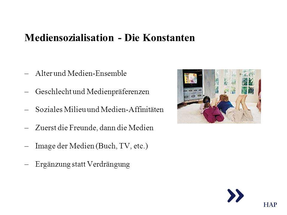 Mediensozialisation - Die Konstanten –Alter und Medien-Ensemble –Geschlecht und Medienpräferenzen –Soziales Milieu und Medien-Affinitäten –Zuerst die