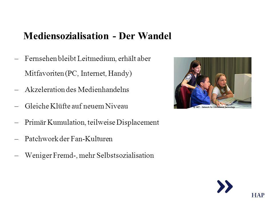 Mediensozialisation - Der Wandel –Fernsehen bleibt Leitmedium, erhält aber Mitfavoriten (PC, Internet, Handy) –Akzeleration des Medienhandelns –Gleich