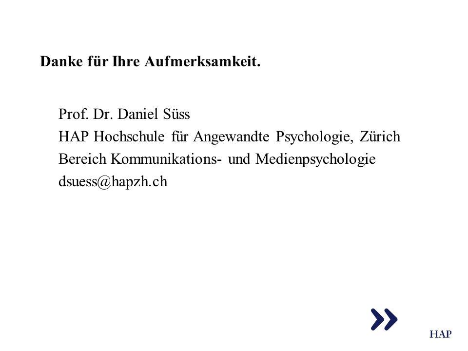 Danke für Ihre Aufmerksamkeit. Prof. Dr. Daniel Süss HAP Hochschule für Angewandte Psychologie, Zürich Bereich Kommunikations- und Medienpsychologie d