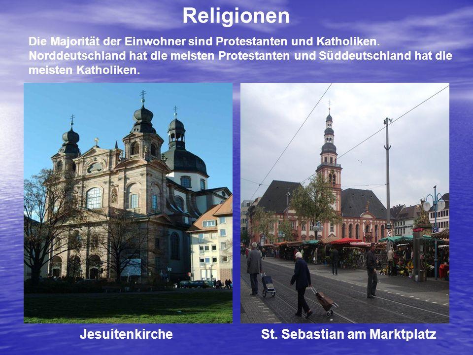 Die Majorität der Einwohner sind Protestanten und Katholiken. Norddeutschland hat die meisten Protestanten und Süddeutschland hat die meisten Katholik