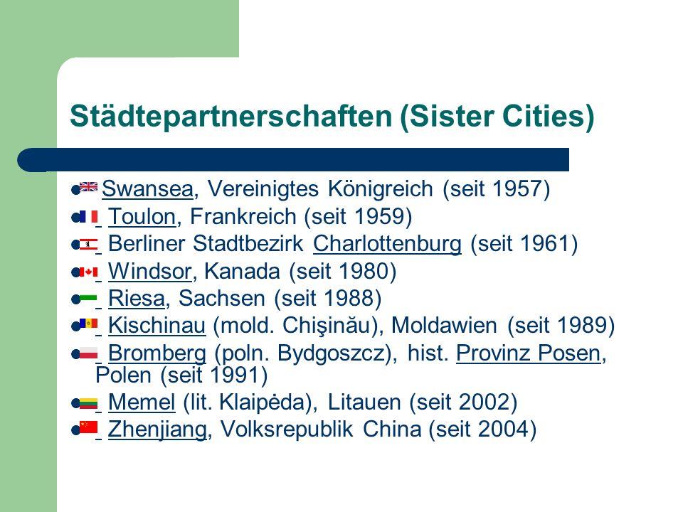Städtepartnerschaften (Sister Cities) Swansea, Vereinigtes Königreich (seit 1957)Swansea Toulon, Frankreich (seit 1959) Toulon Berliner Stadtbezirk Ch