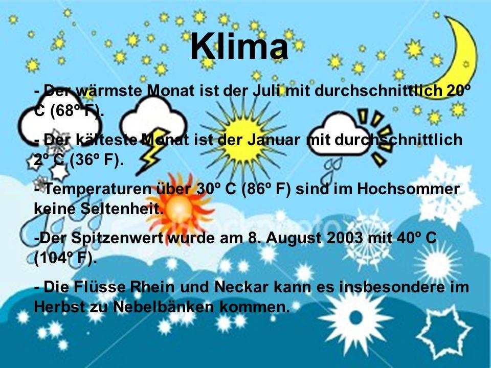 - Der wärmste Monat ist der Juli mit durchschnittlich 20º C (68º F). - Der kälteste Monat ist der Januar mit durchschnittlich 2º C (36º F). - Temperat