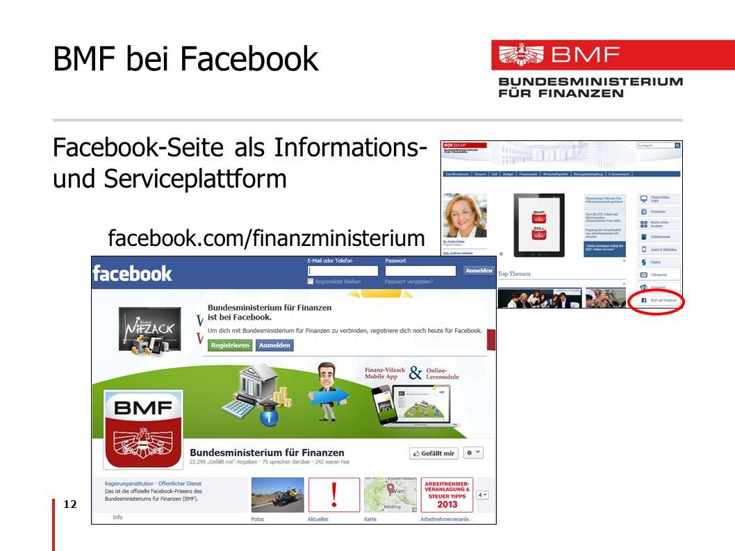 12 BMF bei Facebook Facebook-Seite als Informations- und Serviceplattform facebook.com/finanzministerium