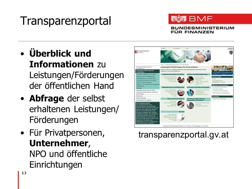 13 Transparenzportal Überblick und Informationen zu Leistungen/Förderungen der öffentlichen Hand Abfrage der selbst erhaltenen Leistungen/ Förderungen