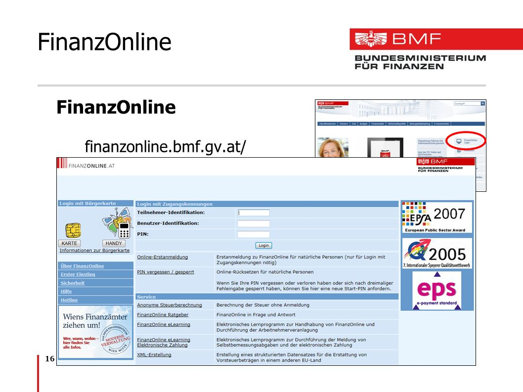 16 FinanzOnline finanzonline.bmf.gv.at/