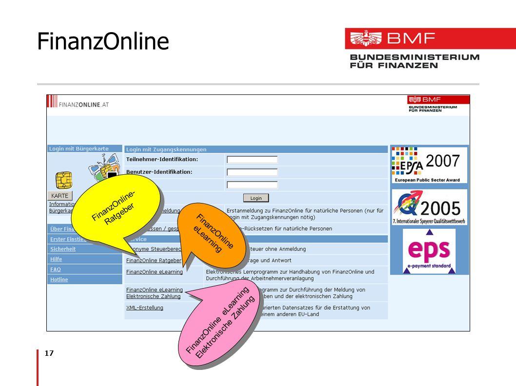 17 FinanzOnline FinanzOnline eLearning FinanzOnline- Ratgeber FinanzOnline eLearning Elektronische Zahlung