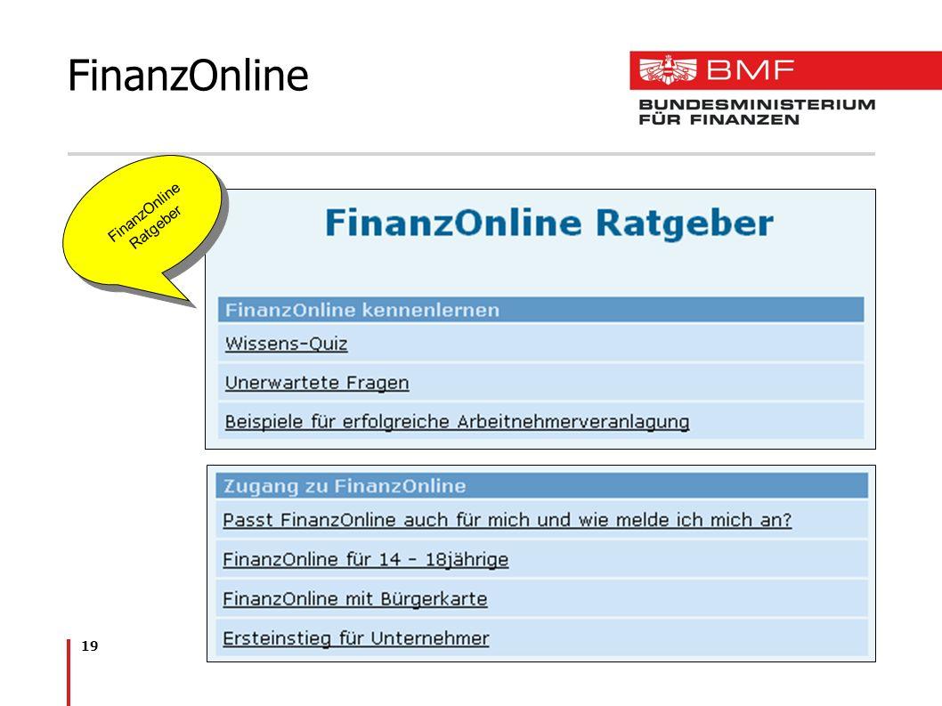 19 FinanzOnline FinanzOnline Ratgeber