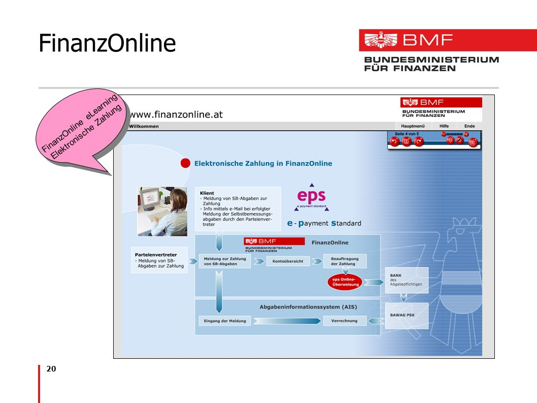 20 FinanzOnline FinanzOnline eLearning Elektronische Zahlung