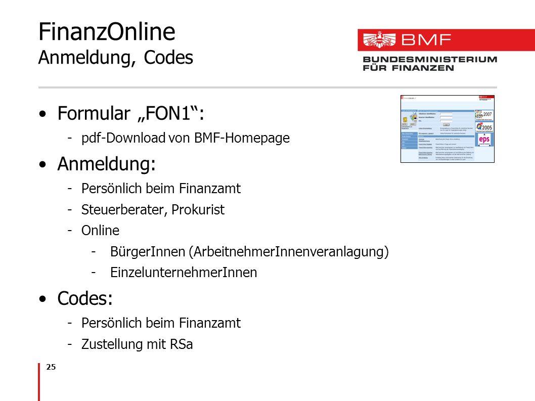 25 FinanzOnline Anmeldung, Codes Formular FON1: -pdf-Download von BMF-Homepage Anmeldung: -Persönlich beim Finanzamt -Steuerberater, Prokurist -Online