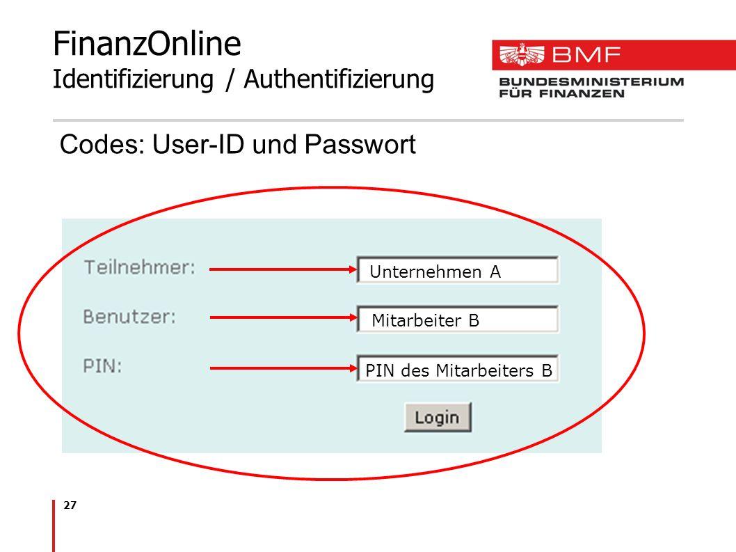 27 FinanzOnline Identifizierung / Authentifizierung Codes: User-ID und Passwort Unternehmen A Mitarbeiter B PIN des Mitarbeiters B