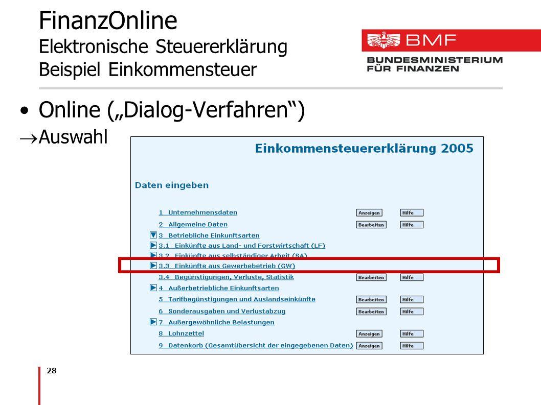 28 FinanzOnline Elektronische Steuererklärung Beispiel Einkommensteuer Online (Dialog-Verfahren) Auswahl