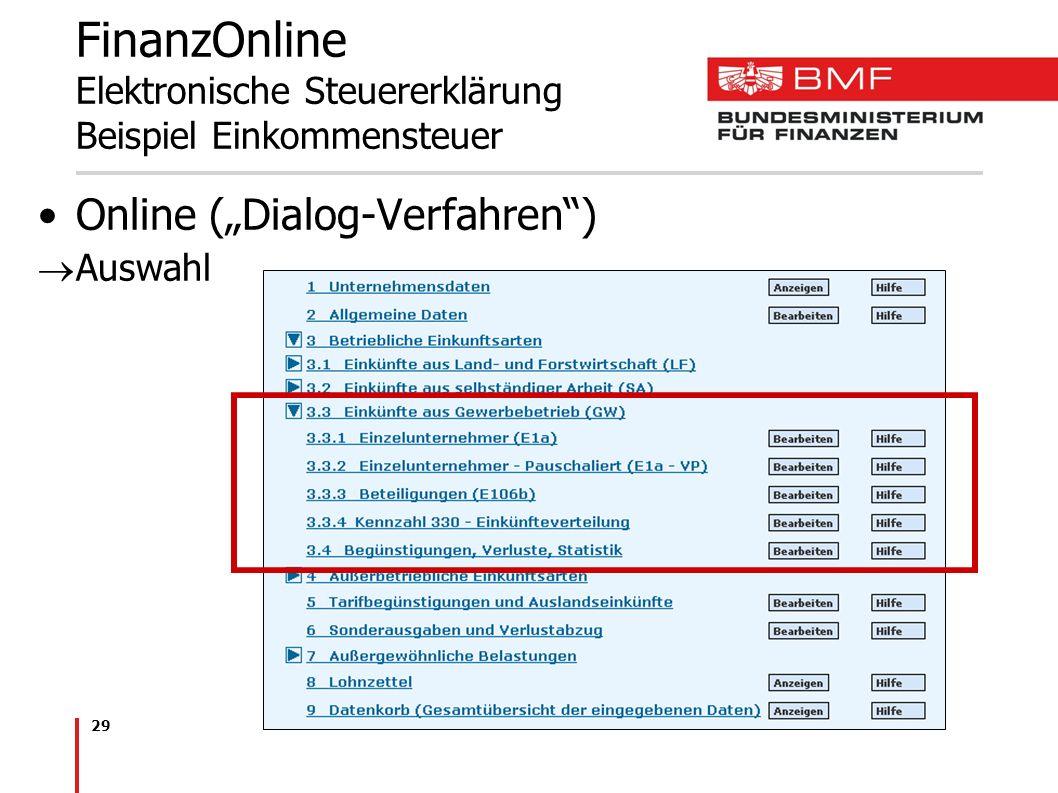 29 FinanzOnline Elektronische Steuererklärung Beispiel Einkommensteuer Online (Dialog-Verfahren) Auswahl