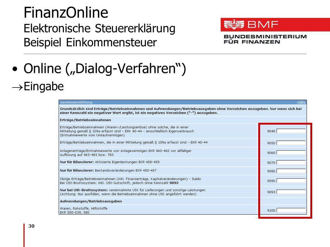 30 FinanzOnline Elektronische Steuererklärung Beispiel Einkommensteuer Online (Dialog-Verfahren) Eingabe