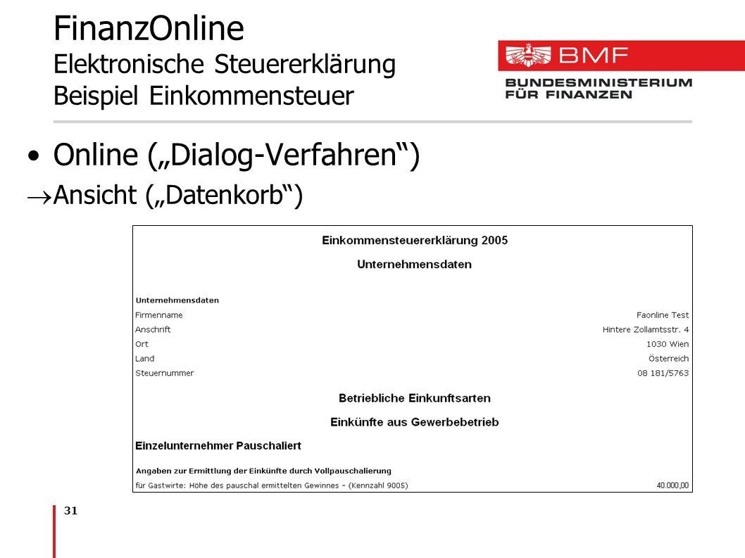 31 FinanzOnline Elektronische Steuererklärung Beispiel Einkommensteuer Online (Dialog-Verfahren) Ansicht (Datenkorb)