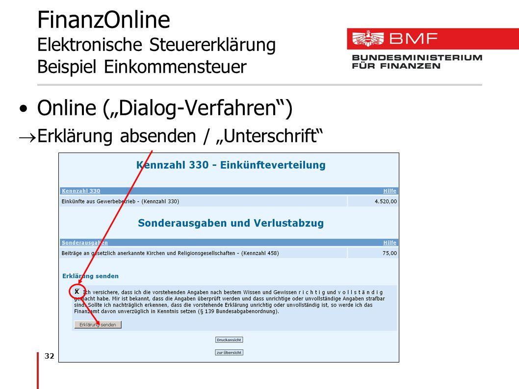 32 FinanzOnline Elektronische Steuererklärung Beispiel Einkommensteuer Online (Dialog-Verfahren) Erklärung absenden / Unterschrift x