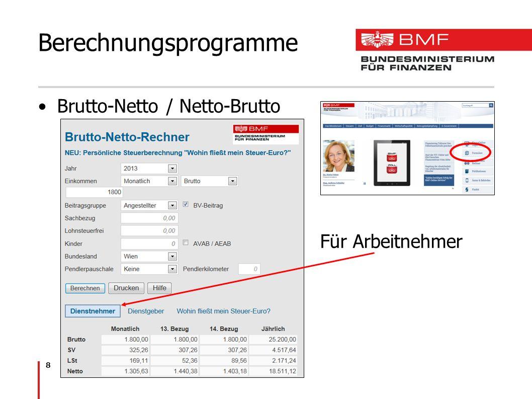 8 Brutto-Netto / Netto-Brutto Für Arbeitnehmer Berechnungsprogramme