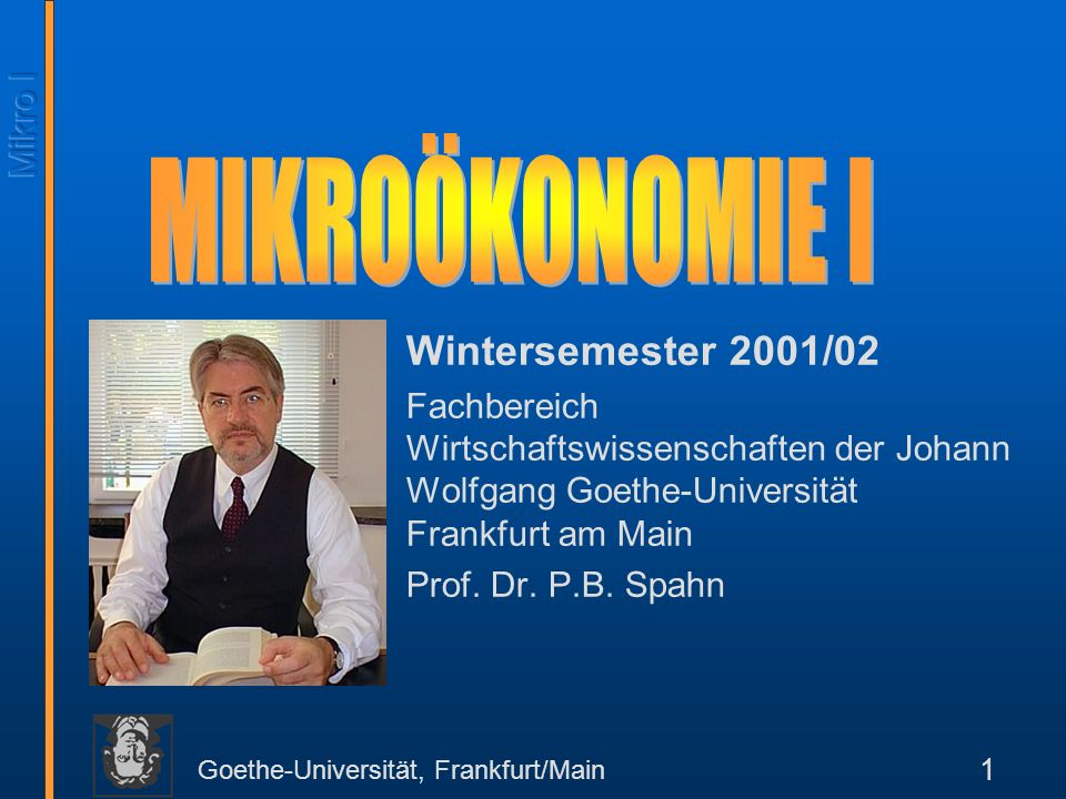 Goethe-Universität, Frankfurt/Main 1 Wintersemester 2001/02 Fachbereich Wirtschaftswissenschaften der Johann Wolfgang Goethe-Universität Frankfurt am Main Prof.