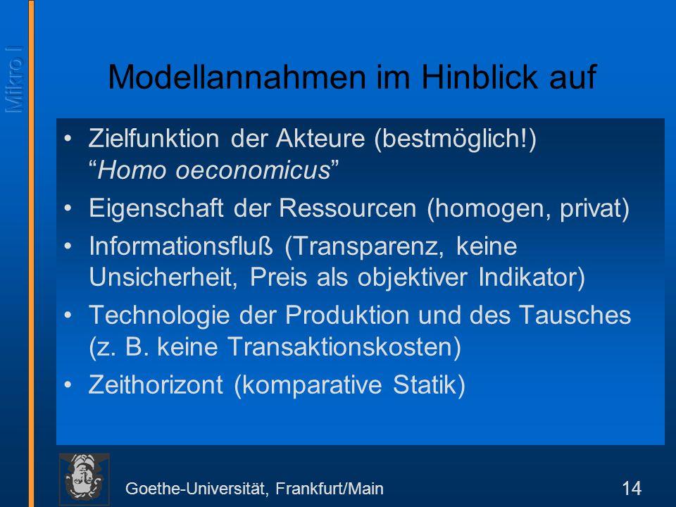 Goethe-Universität, Frankfurt/Main 14 Modellannahmen im Hinblick auf Zielfunktion der Akteure (bestmöglich!)Homo oeconomicus Eigenschaft der Ressourcen (homogen, privat) Informationsfluß (Transparenz, keine Unsicherheit, Preis als objektiver Indikator) Technologie der Produktion und des Tausches (z.