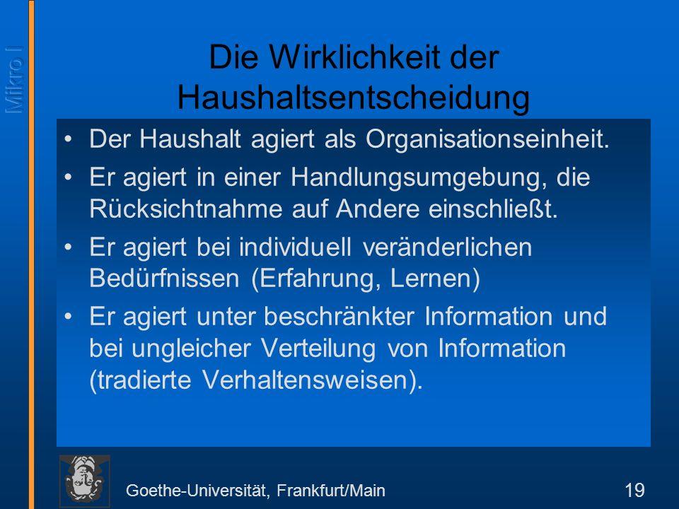 Goethe-Universität, Frankfurt/Main 19 Die Wirklichkeit der Haushaltsentscheidung Der Haushalt agiert als Organisationseinheit.