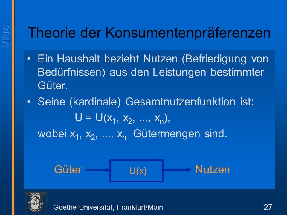 Goethe-Universität, Frankfurt/Main 27 Ein Haushalt bezieht Nutzen (Befriedigung von Bedürfnissen) aus den Leistungen bestimmter Güter.