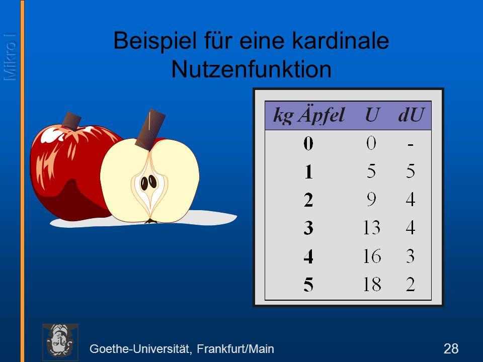 Goethe-Universität, Frankfurt/Main 28 Beispiel für eine kardinale Nutzenfunktion