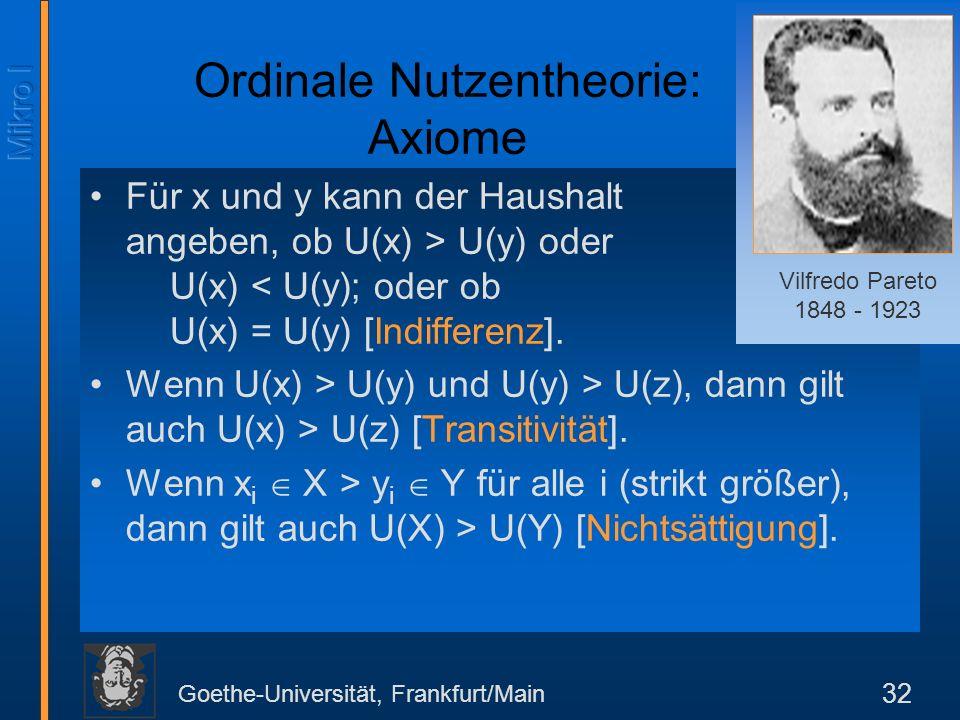 Goethe-Universität, Frankfurt/Main 32 Ordinale Nutzentheorie: Axiome Für x und y kann der Haushalt angeben, ob U(x) > U(y) oder U(x) < U(y); oder ob U(x) = U(y) [Indifferenz].