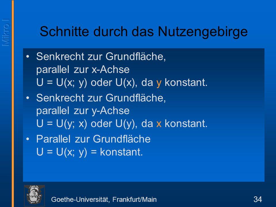 Goethe-Universität, Frankfurt/Main 34 Schnitte durch das Nutzengebirge Senkrecht zur Grundfläche, parallel zur x-Achse U = U(x; y) oder U(x), da y konstant.