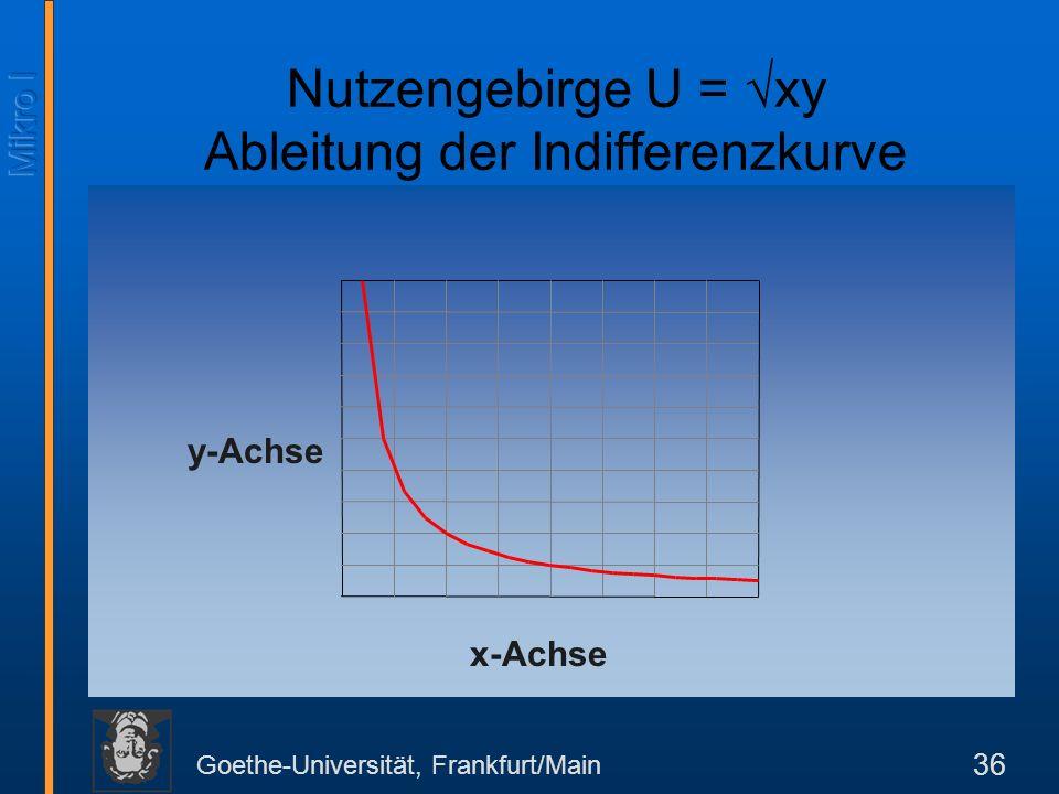 Goethe-Universität, Frankfurt/Main 36 x-Achse y-Achse Nutzengebirge U = xy Ableitung der Indifferenzkurve