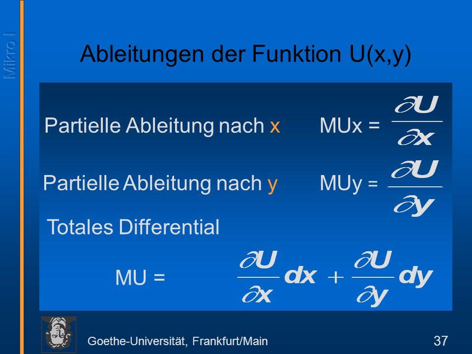 Goethe-Universität, Frankfurt/Main 37 Partielle Ableitung nach xMUx = Ableitungen der Funktion U(x,y) Partielle Ableitung nach y MUy = Totales Differential MU =