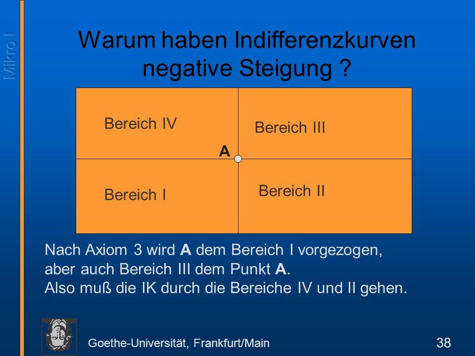 Goethe-Universität, Frankfurt/Main 38 Bereich IV Bereich III Bereich I Bereich II A Nach Axiom 3 wird A dem Bereich I vorgezogen, aber auch Bereich III dem Punkt A.