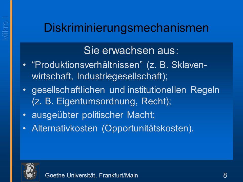 Goethe-Universität, Frankfurt/Main 8 Diskriminierungsmechanismen Sie erwachsen aus : Produktionsverhältnissen (z.