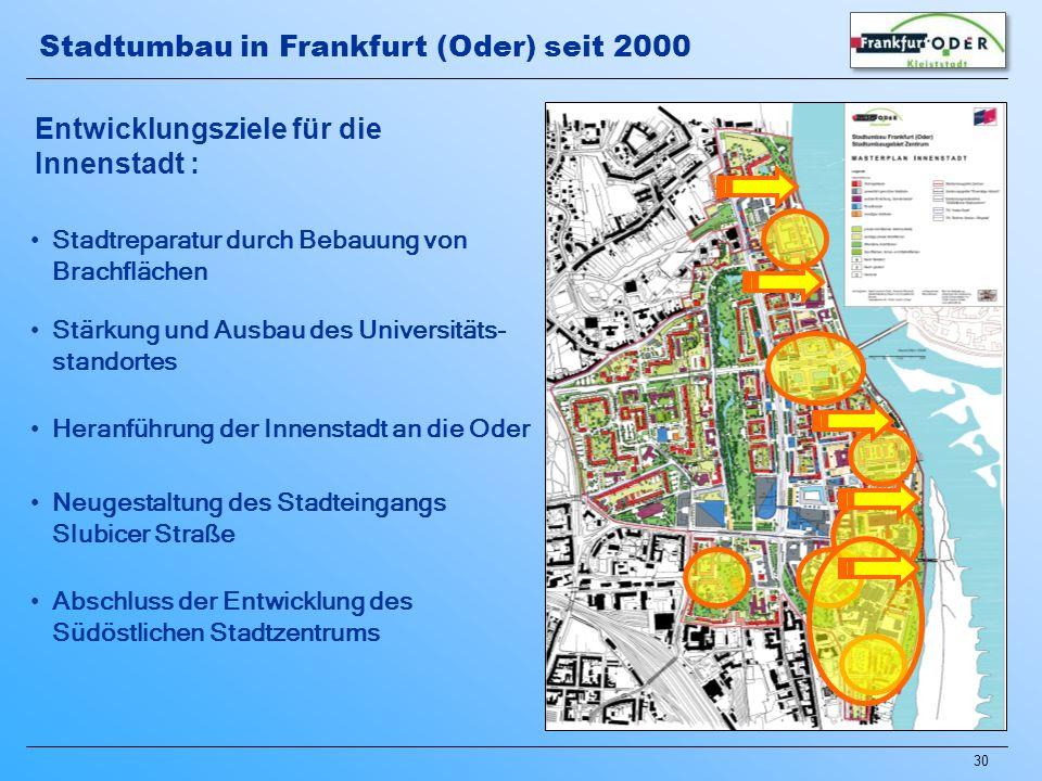 30 Heranführung der Innenstadt an die Oder Neugestaltung des Stadteingangs Slubicer Straße Abschluss der Entwicklung des Südöstlichen Stadtzentrums St