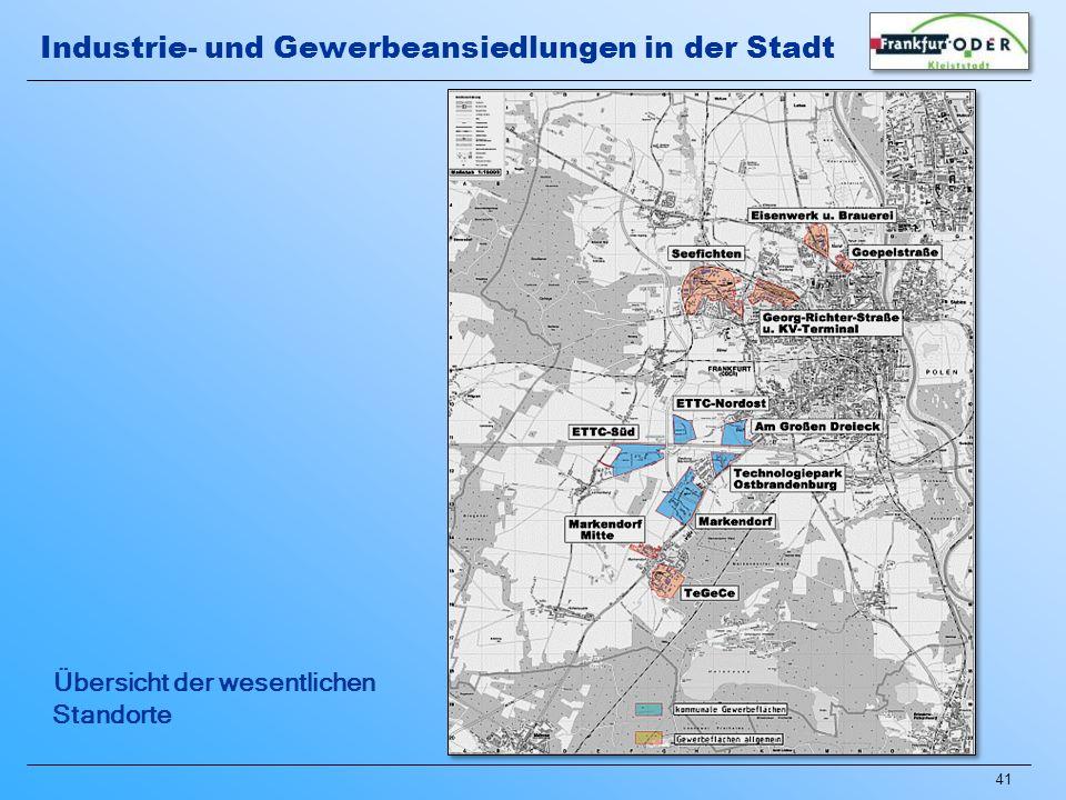 41 Übersicht der wesentlichen Standorte Industrie- und Gewerbeansiedlungen in der Stadt