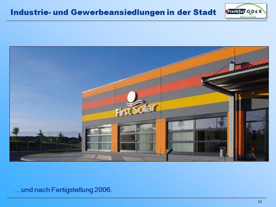 43... und nach Fertigstellung 2006. Industrie- und Gewerbeansiedlungen in der Stadt