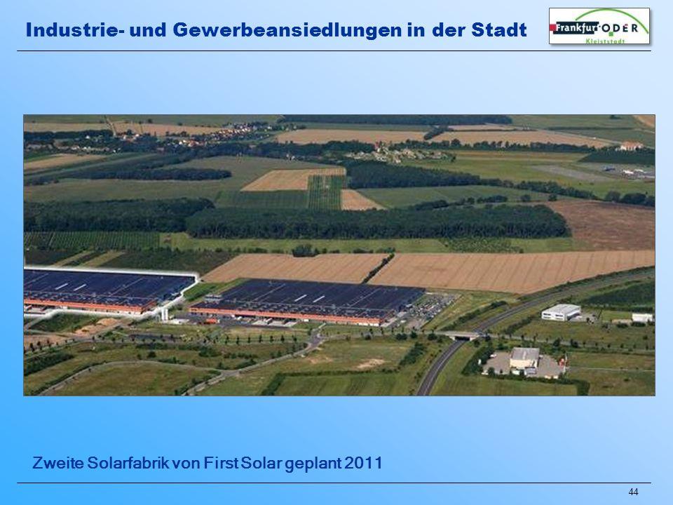 44 Zweite Solarfabrik von First Solar geplant 2011 Industrie- und Gewerbeansiedlungen in der Stadt