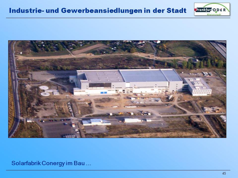 45 Solarfabrik Conergy im Bau... Industrie- und Gewerbeansiedlungen in der Stadt