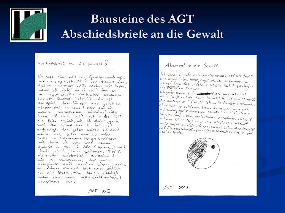 Bausteine des AGT Der Heiße Stuhl Konfrontation mit der Straftat Konfrontation mit der Straftat Erzeugen von Betroffenheit Erzeugen von Betroffenheit