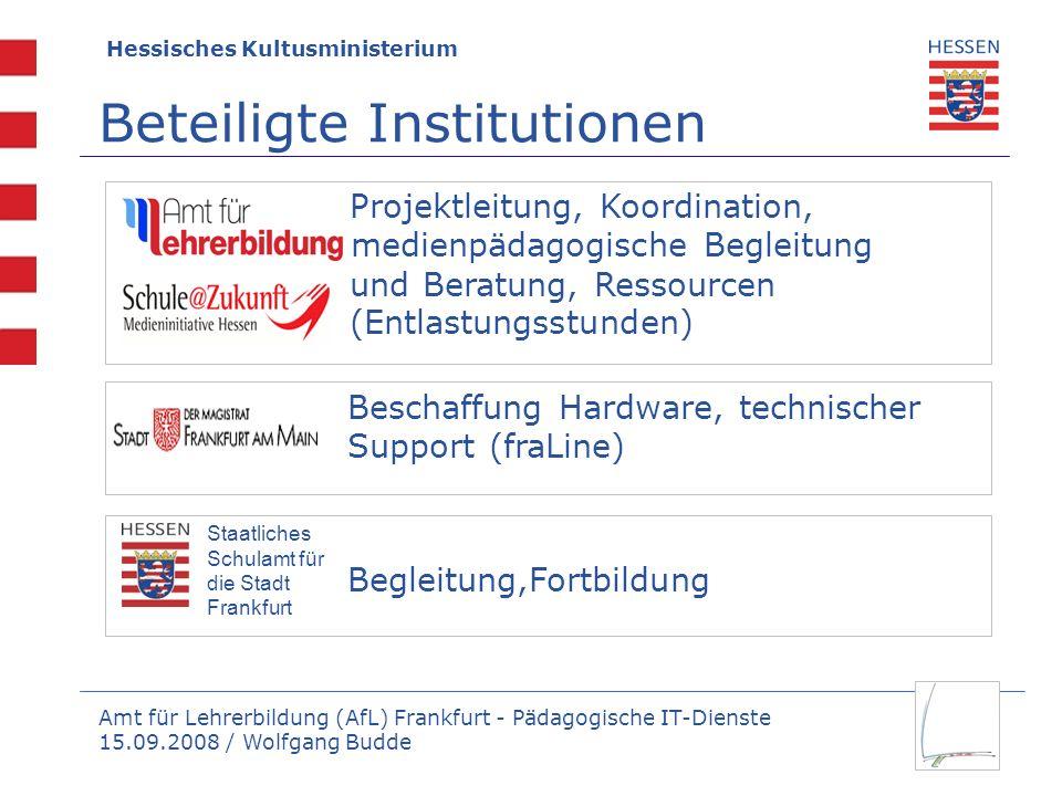 Amt für Lehrerbildung (AfL) Frankfurt - Pädagogische IT-Dienste 15.09.2008 / Wolfgang Budde Hessisches Kultusministerium Beteiligte Institutionen Besc